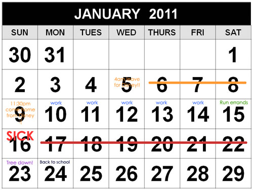 january 2011 calendar with holidays. See, I even made a calendar…